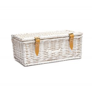 Empty white wicker hamper with leather strips to make your own selection