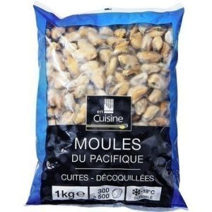 Cooked mussels shell off caliber 300/500  - 1kg (frozen)