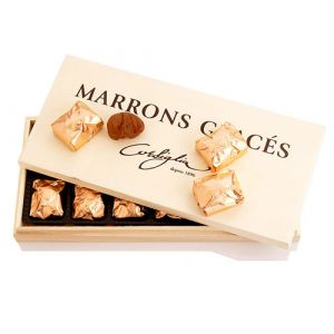 Premium candied chestnuts / marrons glaces packed in wooden gift box - 12 individually wrapped pieces - no preservative, no additive, no colouring