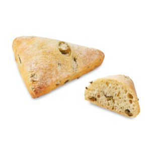 Pre-baked Lenotre triangular bread with green olives - 12 x 45g (frozen) / follow our cooking tip