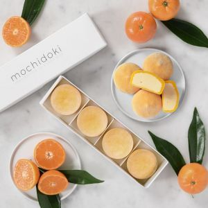 Mandarin orange mochi ice cream - set of 4 pieces - no artificial sweetener or colouring