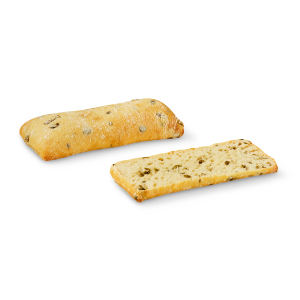 Pre-baked green olives ciabatta - 2 x 125g (frozen) - follow our cooking tip