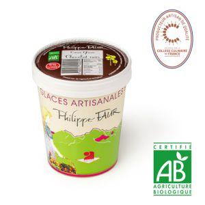Artisanal organic dark chocolate ice cream - 500ml (frozen) - 100% natural, no coloring, no taste enhancer, no artificial aroma, no preservative