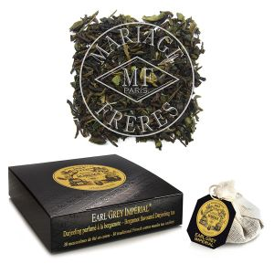 Early Grey Imperial, bergamot flavoured Darjeeling tea - 30 French cotton muslin tea infusers