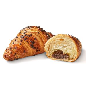 Pre-baked butter croissants filled with chocolate & hazelnut & chocolate topping - 6 x 90g (frozen) - generic packing / follow the cooking instructions