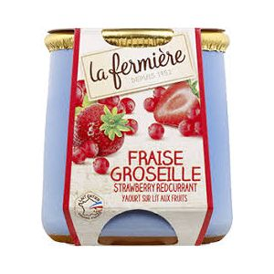 Whole milk strawberry-gooseberry yogurt - 140g - minimum 7 days shelf life