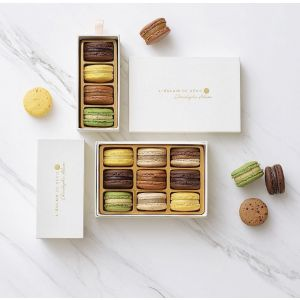 Treasure box of 9 macaroons jasmin/vanilla/chocolate/pistachio/yuzu/peanut caramel by Christophe Adam (frozen)