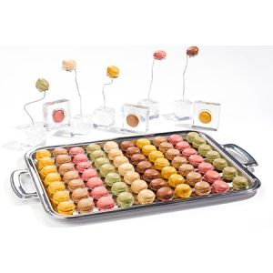 Frozen mini French macarons - 48 pcs x 12gm passion fruit, pistachio, chocolate, raspberry, lemon, caramel, vanilla, coffee.