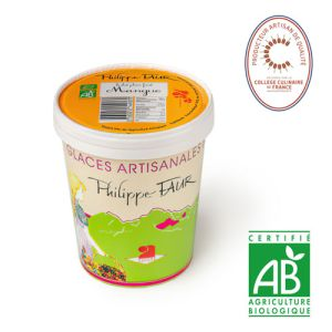 Artisanal organic mango sorbet  - 500ml (frozen) - EXPIRY 06.05 - 100% natural, no coloring, no taste enhancer, no artificial aroma, no preservative