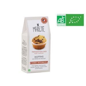 Organic baking mix preparation for chocolate chips muffins - 350g for 10 muffins
