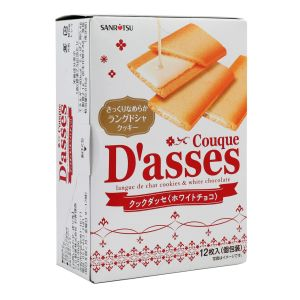 """Japanese cookies """"langues de chat"""" with white chocolate - 12 pieces"""
