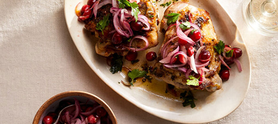 THANKSGIVING American ranch-raised Turkey With Pickled Cranberries and Onions recipe