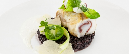 Roasted monkfish with bresaola and Venere rice risotto recipe