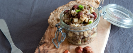 Lentil salad with chabichou goat cheese and green apple