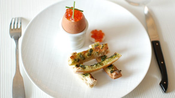 EASTER scrambled eggs with avocado cream and roe salmon eggs appetizer recipe