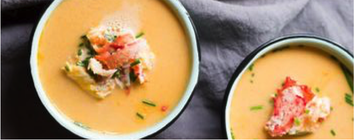 King Crab and Cream of Pumpkin Soup Verrines