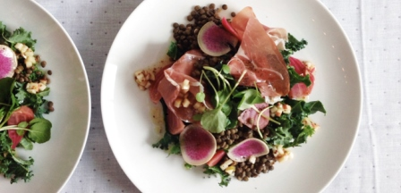French lentils salad with bresaola della Valtellina