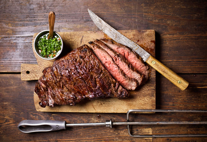 Grilled picanha with chimichurri sauce