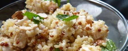 Quinoa salad with feta cheese and chicken satay