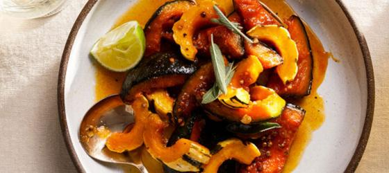 THANKSGIVING Maple-Roasted Squash With Sage and Lime recipe