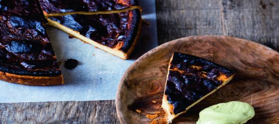 SUMMER Custard tart with thyme lemon sorbet