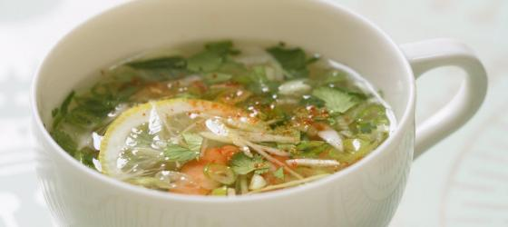 Shrimp, ginger and coriander broth by Jean-Francois Piege