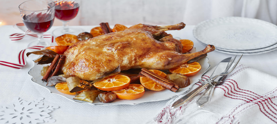 Roasted duck with spiced clementines