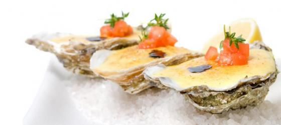 Gratinated oysters with Champagne sabayon recipe
