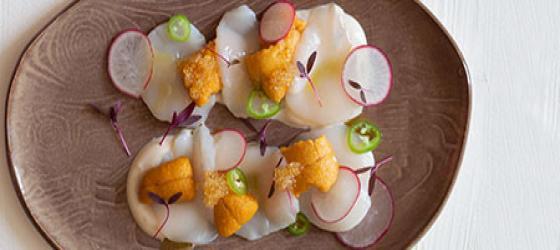 Hokkaido scallops carpaccio with uni (sea urchin) and yuzu pearls recipe