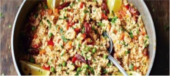 Leftover turkey rice with chicken chorizo