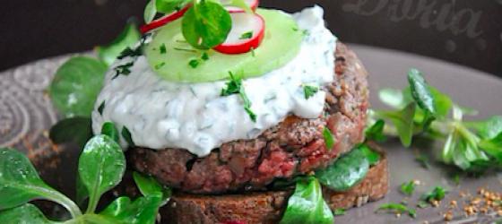 Light gourmet recipe of homemade Wagyu beef burger