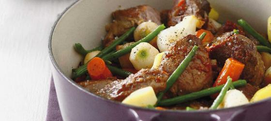 SPRING MENU lamb stew with spring vegetables