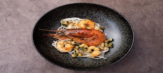 SUMMER Spaghetti with red prawns from Italy, gambero rosso recipe