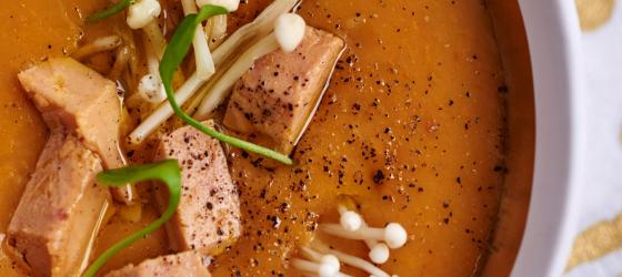 Butternut squash veloute with foie gras dice