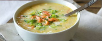 Smoked salmon, leek and potato soup