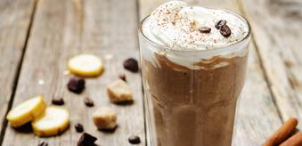 Chocolate smoothie with vanilla and coffee cream, crispy pralin
