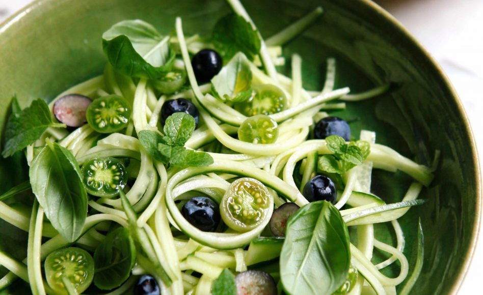 SUMMER cucumber tagliatelle, cherry tomatoes and blueberries green salad