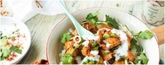 Organic chicken skewers Tandoori style