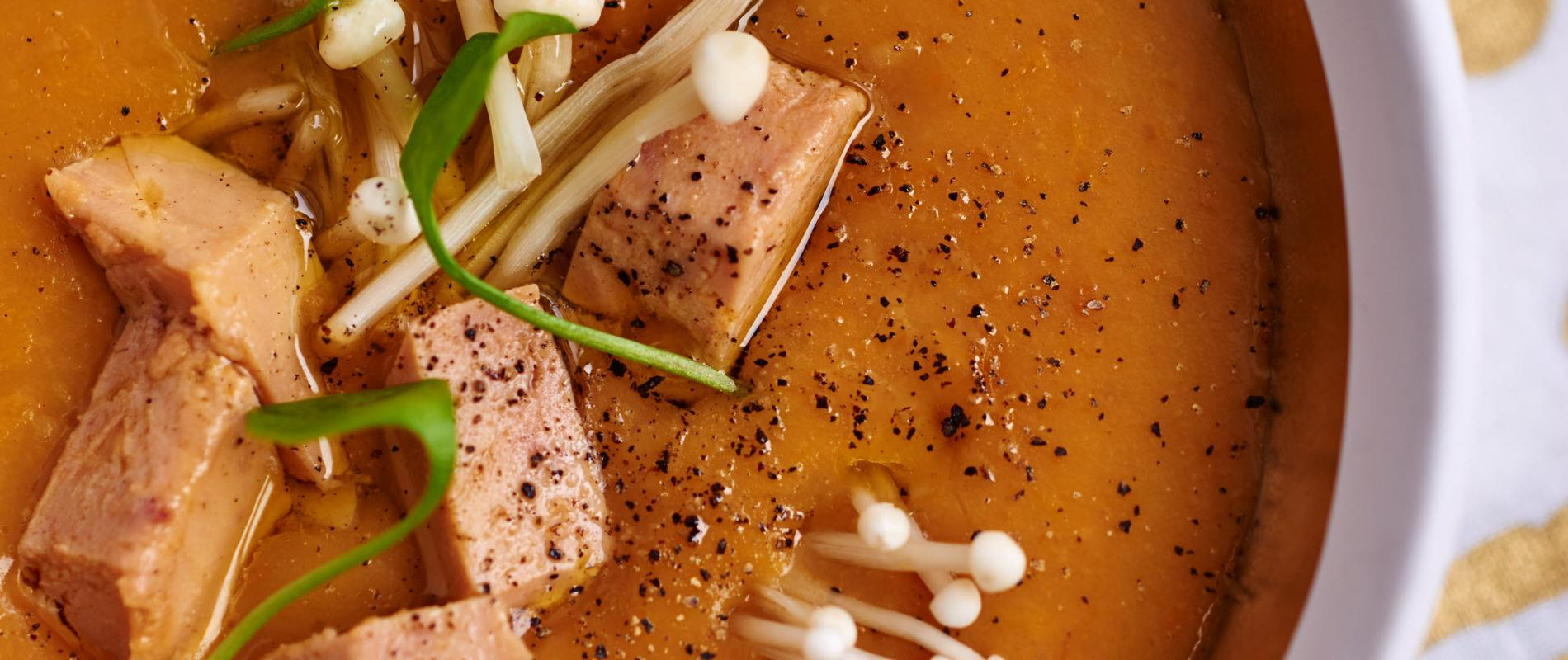 THANKSGIVING Butternut squash veloute with foie gras dice