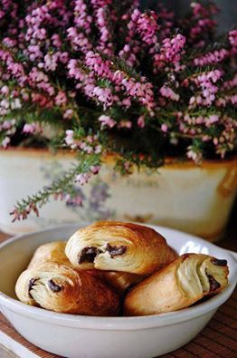 breakfast with chocolate croissant